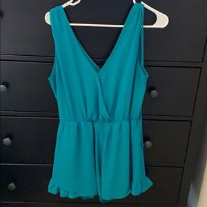 Chiffon romper with built in tank top